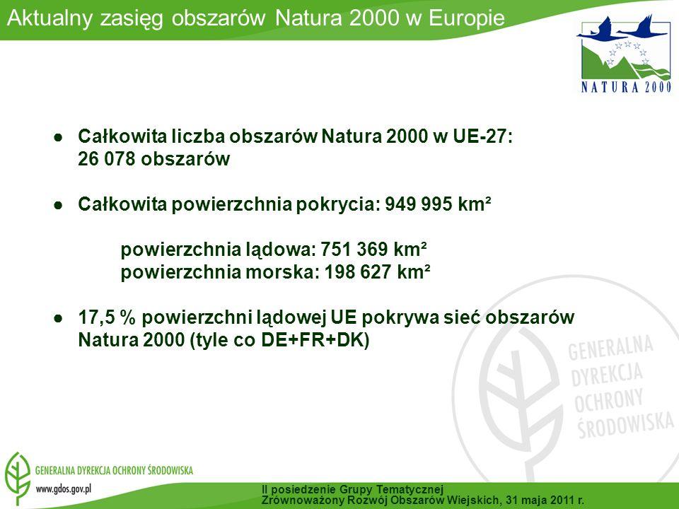 W chwili obecnej trwałą prace w 10 obszarach Natura 2000 (RDOŚ Lublin, RDOŚ Katowice i Białowieski Park Narodowy) Rozpoczęte i trwające procedury przetargowe w 2011 r.:109 Podpisane umowy na 2011 r.: 36 umów Na zatwierdzenie czeka 14 projektów PZO (na etapie uzgadniania) 2010 r.