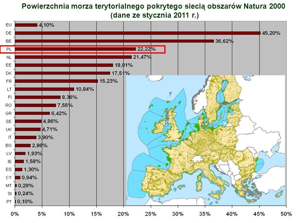 Powierzchnia morza terytorialnego pokrytego siecią obszarów Natura 2000 (dane ze stycznia 2011 r.)