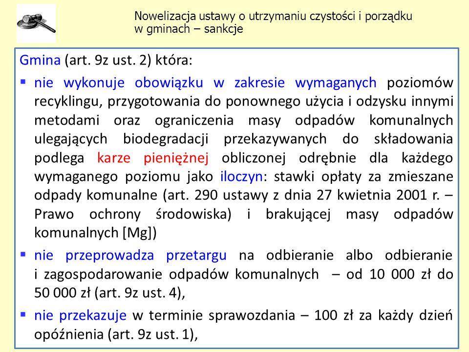Gmina (art. 9z ust. 2) która: nie wykonuje obowiązku w zakresie wymaganych poziomów recyklingu, przygotowania do ponownego użycia i odzysku innymi met