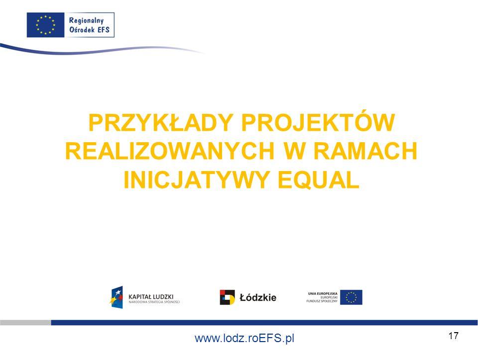Szkolenie współfinansowane ze środków Unii Europejskiej w ramach Europejskiego Funduszu Społecznego www.lodz.roEFS.pl 17 PRZYKŁADY PROJEKTÓW REALIZOWA