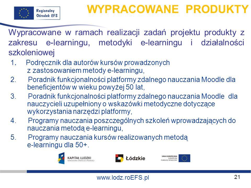 www.miasto.roEFS.pl www.lodz.roEFS.pl Wypracowane w ramach realizacji zadań projektu produkty z zakresu e-learningu, metodyki e-learningu i działalnoś