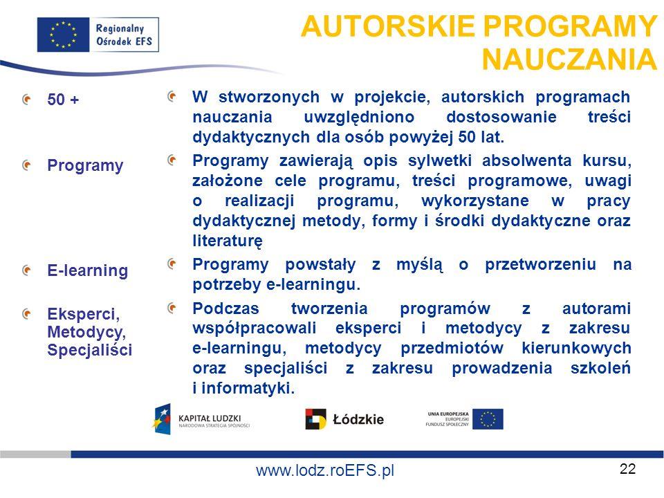 www.miasto.roEFS.pl www.lodz.roEFS.pl AUTORSKIE PROGRAMY NAUCZANIA W stworzonych w projekcie, autorskich programach nauczania uwzględniono dostosowani