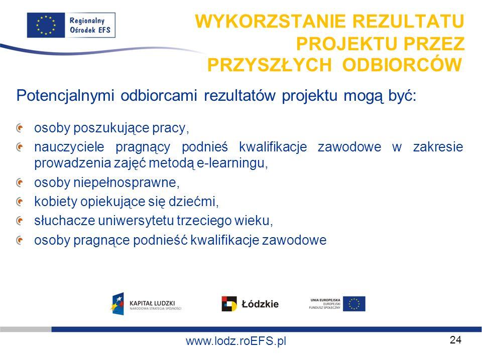 www.miasto.roEFS.pl www.lodz.roEFS.pl WYKORZSTANIE REZULTATU PROJEKTU PRZEZ PRZYSZŁYCH ODBIORCÓW Potencjalnymi odbiorcami rezultatów projektu mogą być