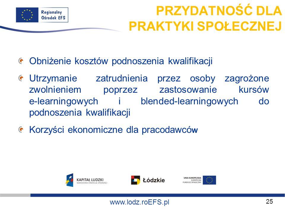www.miasto.roEFS.pl www.lodz.roEFS.pl PRZYDATNOŚĆ DLA PRAKTYKI SPOŁECZNEJ Obniżenie kosztów podnoszenia kwalifikacji Utrzymanie zatrudnienia przez oso