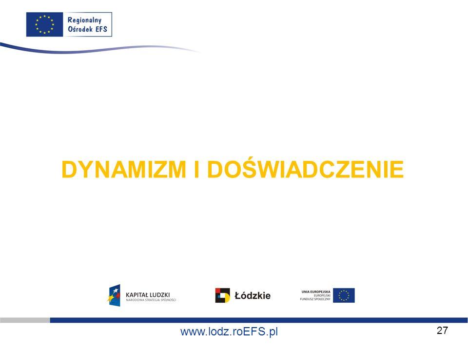 www.miasto.roEFS.pl www.lodz.roEFS.pl DYNAMIZM I DOŚWIADCZENIE 27