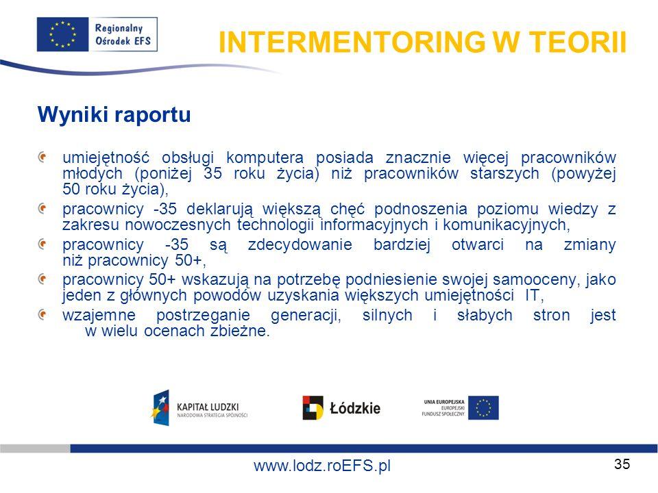 www.miasto.roEFS.pl www.lodz.roEFS.pl INTERMENTORING W TEORII Wyniki raportu umiejętność obsługi komputera posiada znacznie więcej pracowników młodych