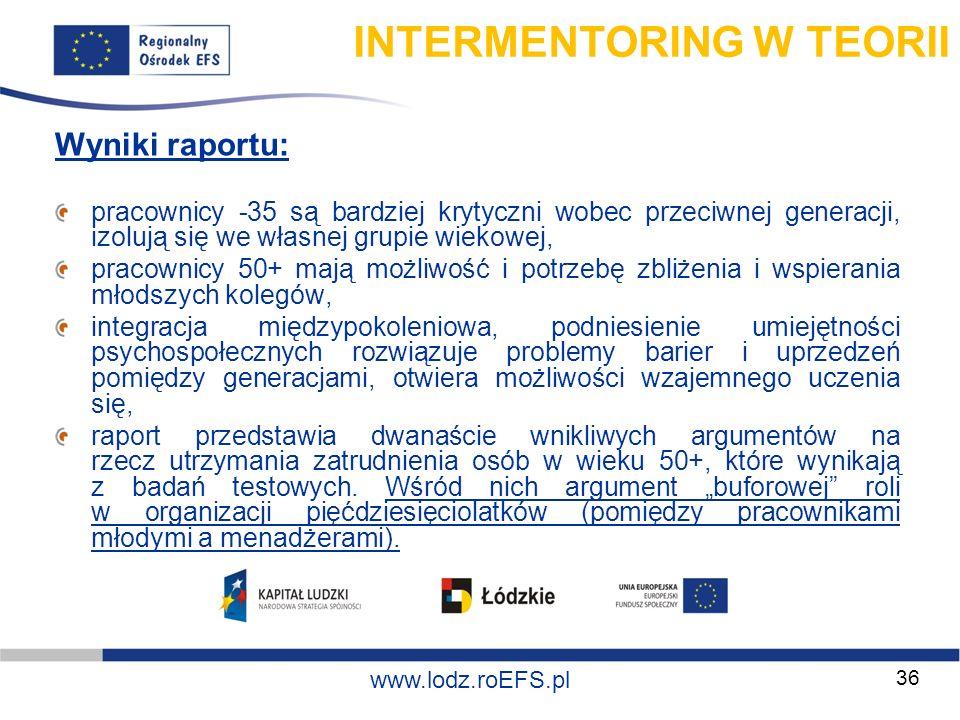 www.miasto.roEFS.pl www.lodz.roEFS.pl Wyniki raportu: pracownicy -35 są bardziej krytyczni wobec przeciwnej generacji, izolują się we własnej grupie w