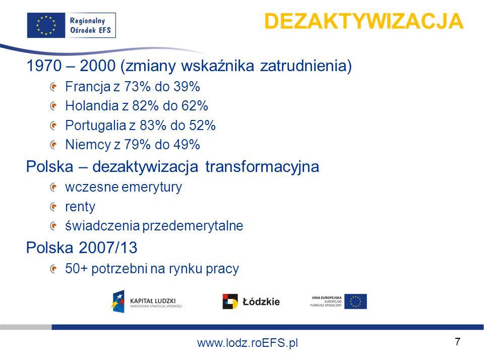 Szkolenie współfinansowane ze środków Unii Europejskiej w ramach Europejskiego Funduszu Społecznego www.lodz.roEFS.pl 8 WYZWANIA długoterminowe wyzwania demograficzne (starzenie się, niski wskaźnik dzietności) – czynnik demograficzny niski poziom aktywności zawodowej – czynnik aktywizacyjny i równowagi pokoleniowej duża skala zróżnicowania regionalnego – czynnik regionalny deficyt nowoczesności w gospodarce – czynnik modernizacyjny niedopasowanie edukacyjne a potrzeby rynku pracy – czynnik edukacyjny brak sprawności rynku pracy – czynnik dopasowania podaży i popytu (rola APRP)