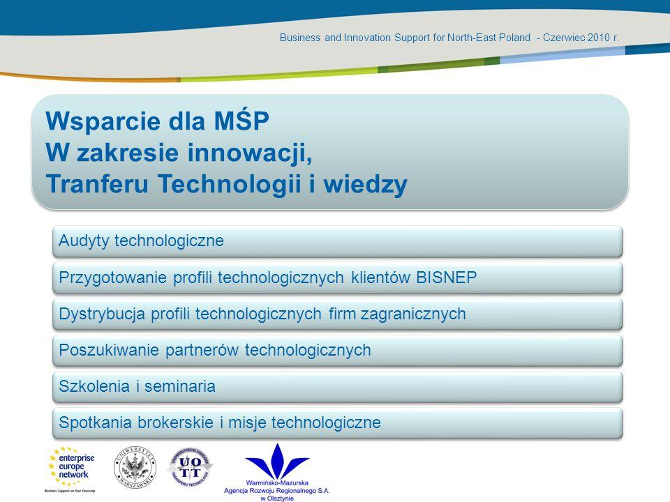 Business and Innovation Support for North-East Poland - Czerwiec 2010 r. Audyty technologicznePrzygotowanie profili technologicznych klientów BISNEPDy