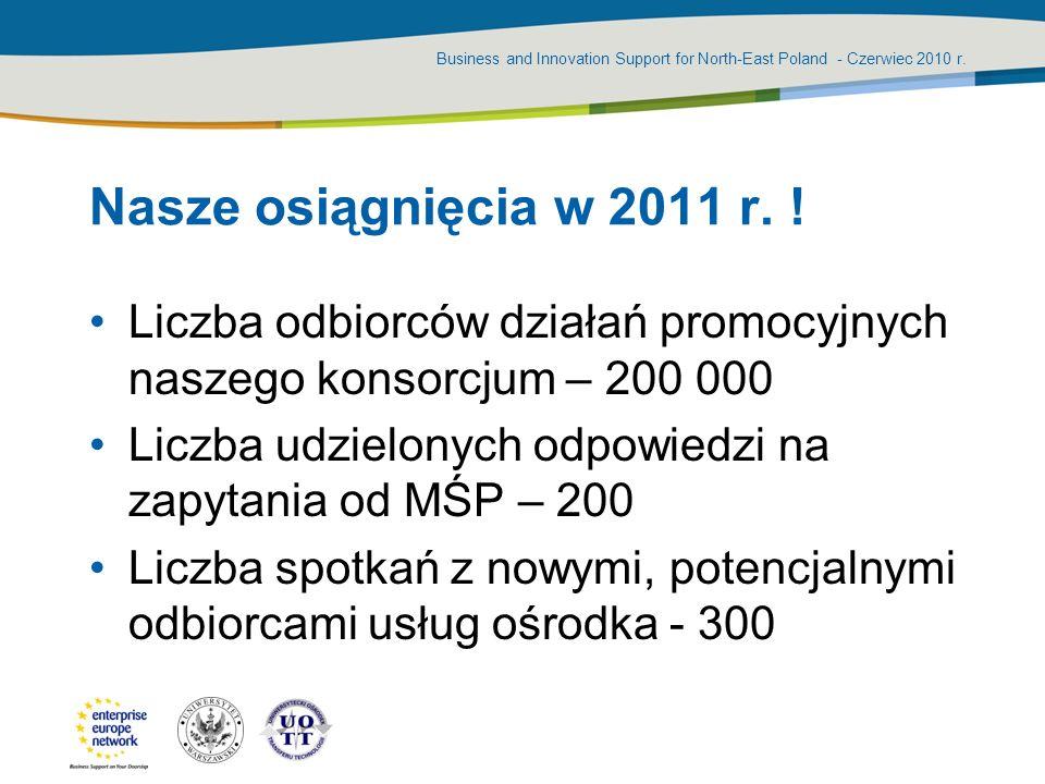 Business and Innovation Support for North-East Poland - Czerwiec 2010 r. Nasze osiągnięcia w 2011 r. ! Liczba odbiorców działań promocyjnych naszego k
