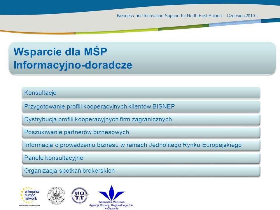 Business and Innovation Support for North-East Poland - Czerwiec 2010 r. KonsultacjePrzygotowanie profili kooperacyjnych klientów BISNEPDystrybucja pr