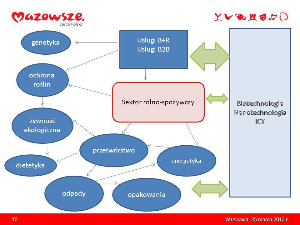 10Warszawa, 25 marca 2013 r. Sektor rolno-spożywczy żywność ekologiczna dietetyka Usługi B+R Usługi B2B genetyka ochrona roślin opakowania odpady prze