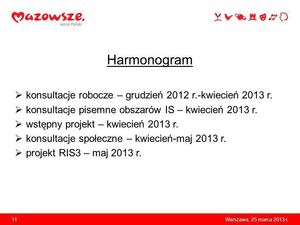 Harmonogram konsultacje robocze – grudzień 2012 r.-kwiecień 2013 r. konsultacje pisemne obszarów IS – kwiecień 2013 r. wstępny projekt – kwiecień 2013