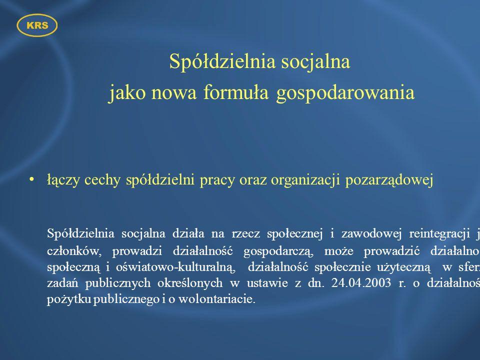 Podstawy prawne funkcjonowania spółdzielni socjalnych w Polsce Ustawa z dnia 27 kwietnia 2006 r.