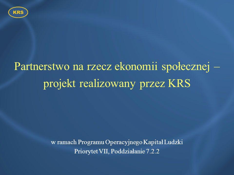 Partnerstwo na rzecz ekonomii społecznej – projekt realizowany przez KRS w ramach Programu Operacyjnego Kapitał Ludzki Priorytet VII, Poddziałanie 7.2