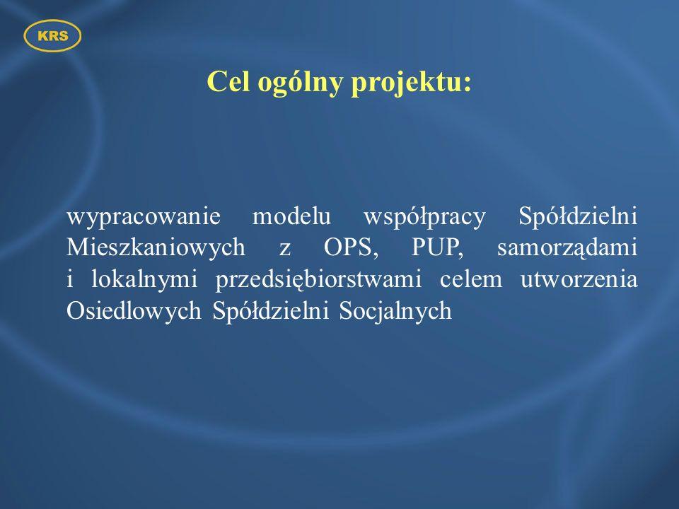 Cel ogólny projektu: wypracowanie modelu współpracy Spółdzielni Mieszkaniowych z OPS, PUP, samorządami i lokalnymi przedsiębiorstwami celem utworzenia