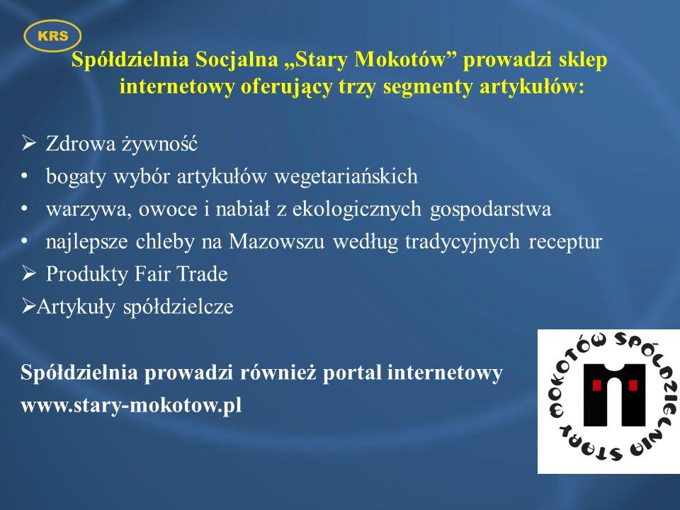 Spółdzielnia Socjalna Stary Mokotów prowadzi sklep internetowy oferujący trzy segmenty artykułów: Zdrowa żywność bogaty wybór artykułów wegetariańskic