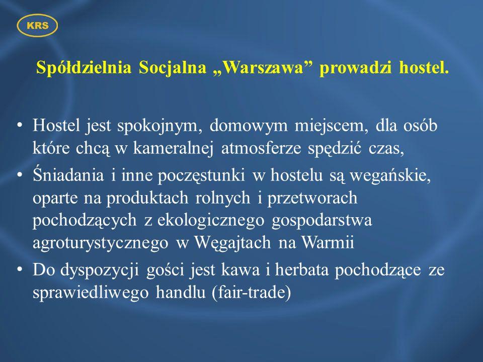 Spółdzielnia Socjalna Warszawa prowadzi hostel. Hostel jest spokojnym, domowym miejscem, dla osób które chcą w kameralnej atmosferze spędzić czas, Śni