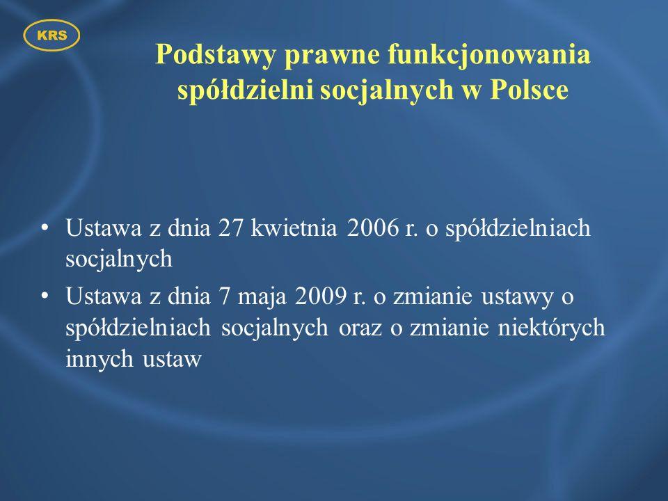 Podstawy prawne funkcjonowania spółdzielni socjalnych w Polsce Ustawa z dnia 27 kwietnia 2006 r. o spółdzielniach socjalnych Ustawa z dnia 7 maja 2009