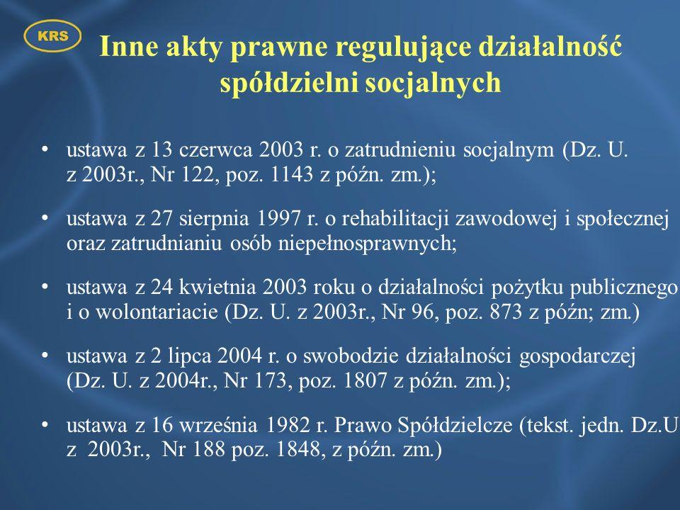 Inne akty prawne regulujące działalność spółdzielni socjalnych ustawa z 13 czerwca 2003 r. o zatrudnieniu socjalnym (Dz. U. z 2003r., Nr 122, poz. 114