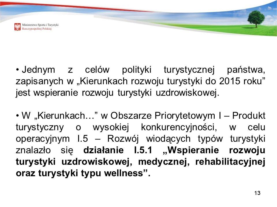 13 Jednym z celów polityki turystycznej państwa, zapisanych w Kierunkach rozwoju turystyki do 2015 roku jest wspieranie rozwoju turystyki uzdrowiskowej.