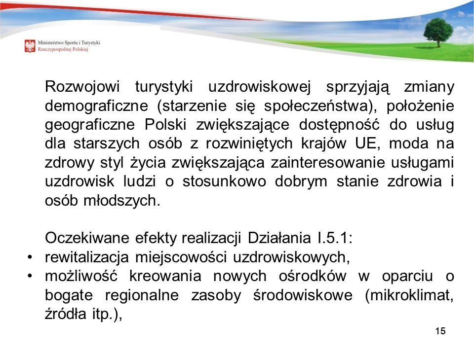 15 Rozwojowi turystyki uzdrowiskowej sprzyjają zmiany demograficzne (starzenie się społeczeństwa), położenie geograficzne Polski zwiększające dostępność do usług dla starszych osób z rozwiniętych krajów UE, moda na zdrowy styl życia zwiększająca zainteresowanie usługami uzdrowisk ludzi o stosunkowo dobrym stanie zdrowia i osób młodszych.