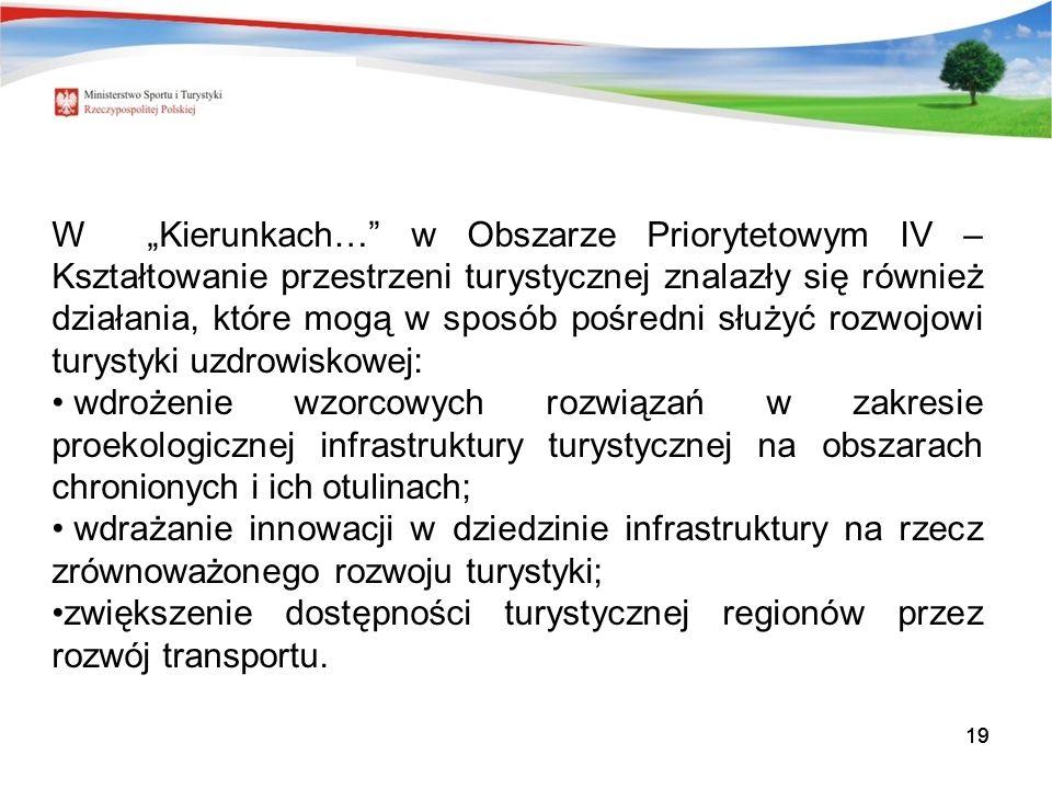19 W Kierunkach… w Obszarze Priorytetowym IV – Kształtowanie przestrzeni turystycznej znalazły się również działania, które mogą w sposób pośredni służyć rozwojowi turystyki uzdrowiskowej: wdrożenie wzorcowych rozwiązań w zakresie proekologicznej infrastruktury turystycznej na obszarach chronionych i ich otulinach; wdrażanie innowacji w dziedzinie infrastruktury na rzecz zrównoważonego rozwoju turystyki; zwiększenie dostępności turystycznej regionów przez rozwój transportu.