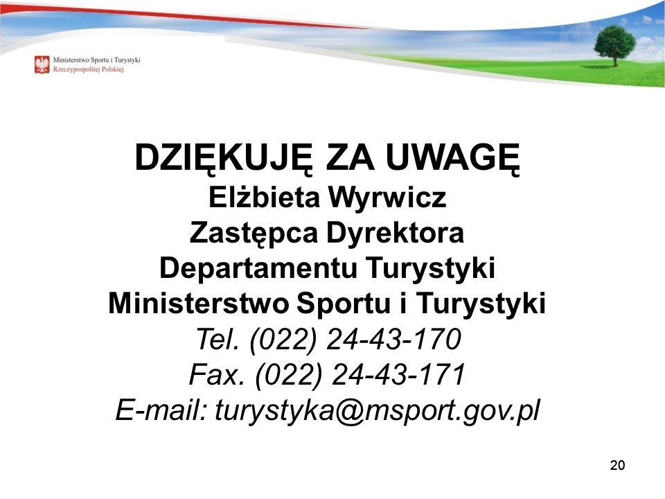 20 DZIĘKUJĘ ZA UWAGĘ Elżbieta Wyrwicz Zastępca Dyrektora Departamentu Turystyki Ministerstwo Sportu i Turystyki Tel.