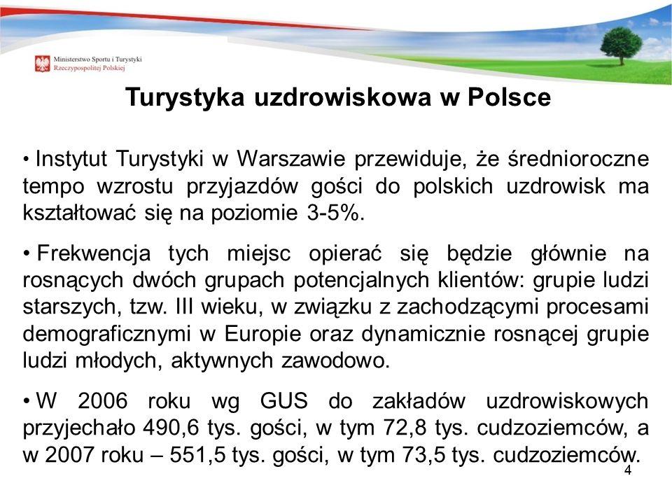 44 Instytut Turystyki w Warszawie przewiduje, że średnioroczne tempo wzrostu przyjazdów gości do polskich uzdrowisk ma kształtować się na poziomie 3-5%.