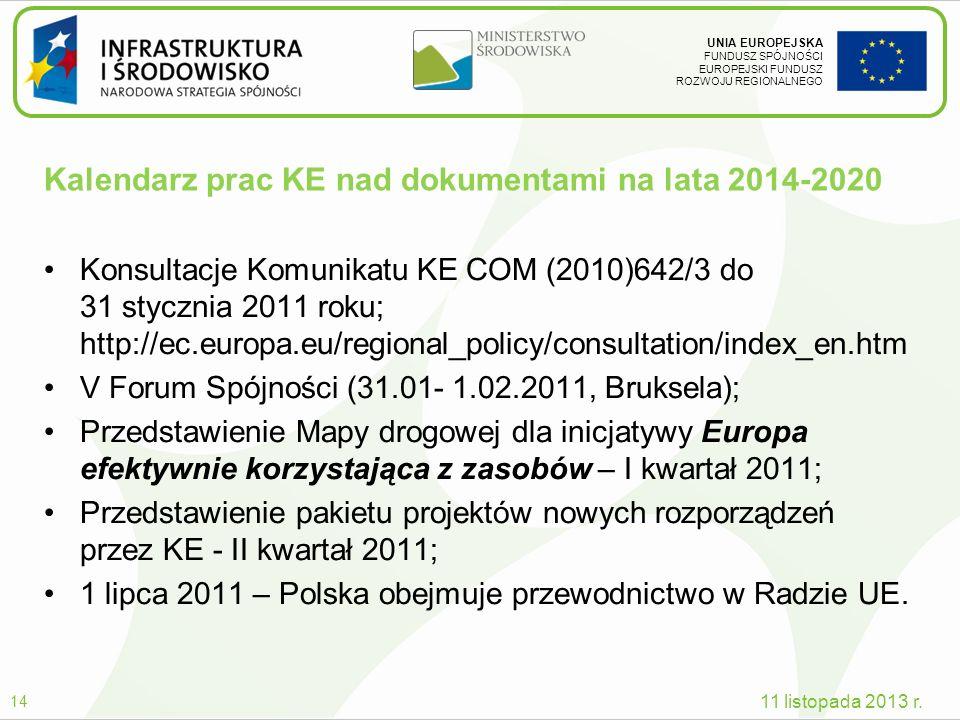 UNIA EUROPEJSKA FUNDUSZ SPÓJNOŚCI EUROPEJSKI FUNDUSZ ROZWOJU REGIONALNEGO Kalendarz prac KE nad dokumentami na lata 2014-2020 Konsultacje Komunikatu K