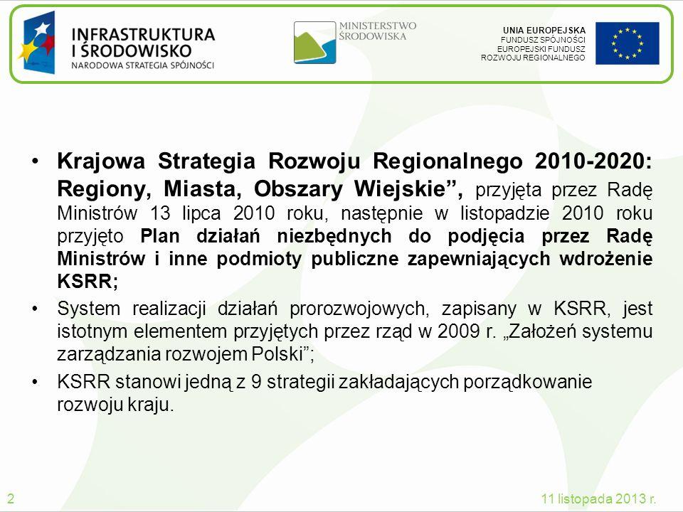 UNIA EUROPEJSKA FUNDUSZ SPÓJNOŚCI EUROPEJSKI FUNDUSZ ROZWOJU REGIONALNEGO Krajowa Strategia Rozwoju Regionalnego 2010-2020: Regiony, Miasta, Obszary W
