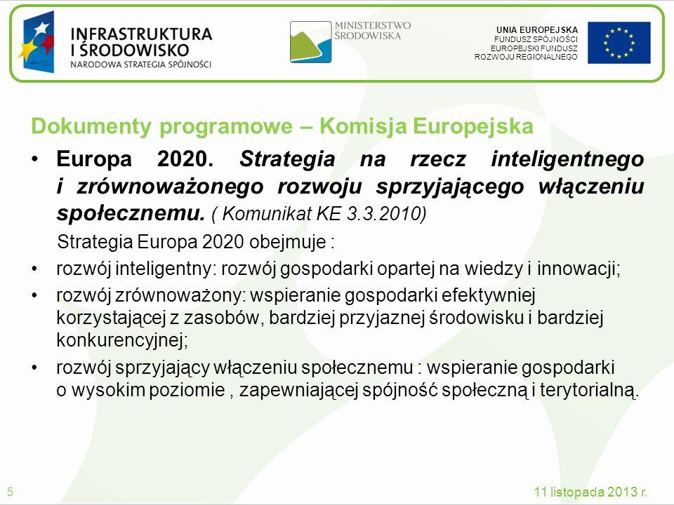 UNIA EUROPEJSKA FUNDUSZ SPÓJNOŚCI EUROPEJSKI FUNDUSZ ROZWOJU REGIONALNEGO Dokumenty programowe – Komisja Europejska Europa 2020. Strategia na rzecz in