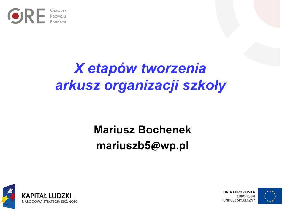 X etapów tworzenia arkusz organizacji szkoły Mariusz Bochenek mariuszb5 @ wp.pl 1