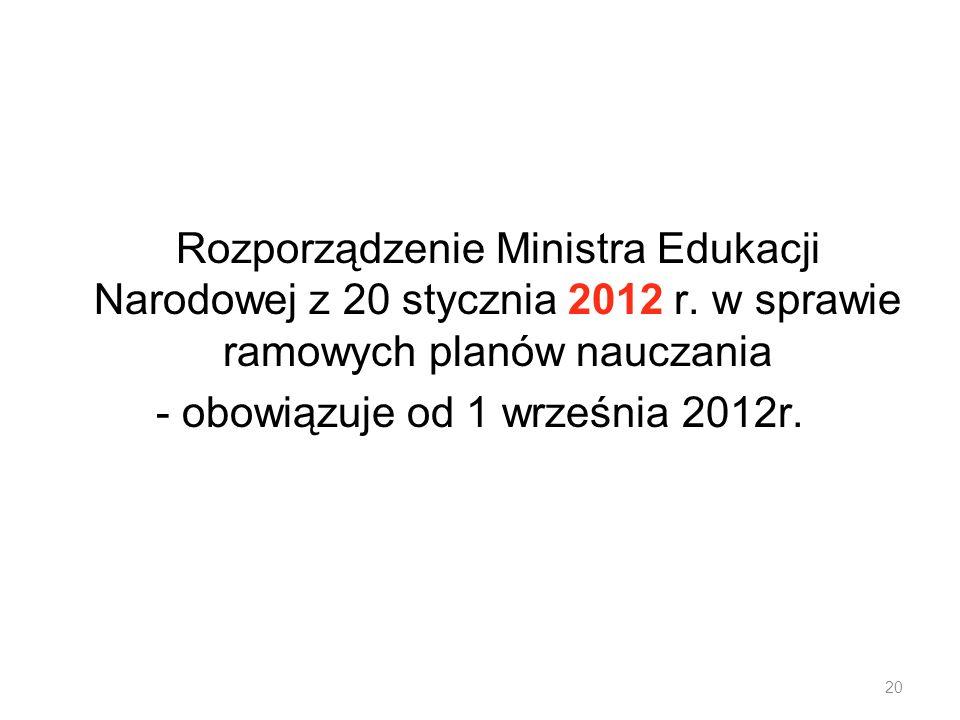 Rozporządzenie Ministra Edukacji Narodowej z 20 stycznia 2012 r. w sprawie ramowych planów nauczania - obowiązuje od 1 września 2012r. 20
