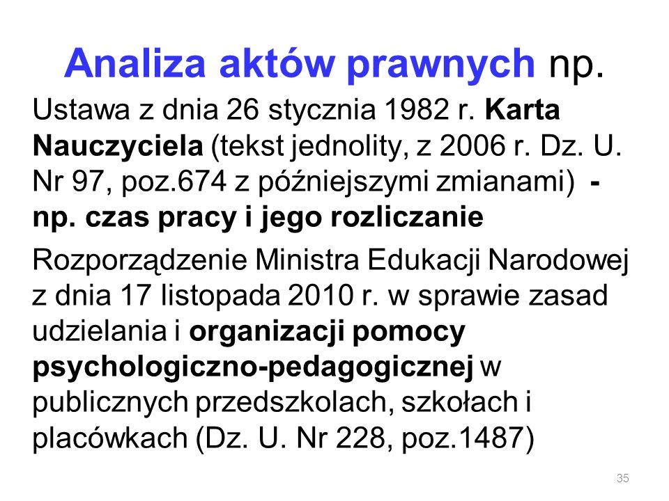 Analiza aktów prawnych np. Ustawa z dnia 26 stycznia 1982 r. Karta Nauczyciela (tekst jednolity, z 2006 r. Dz. U. Nr 97, poz.674 z późniejszymi zmiana