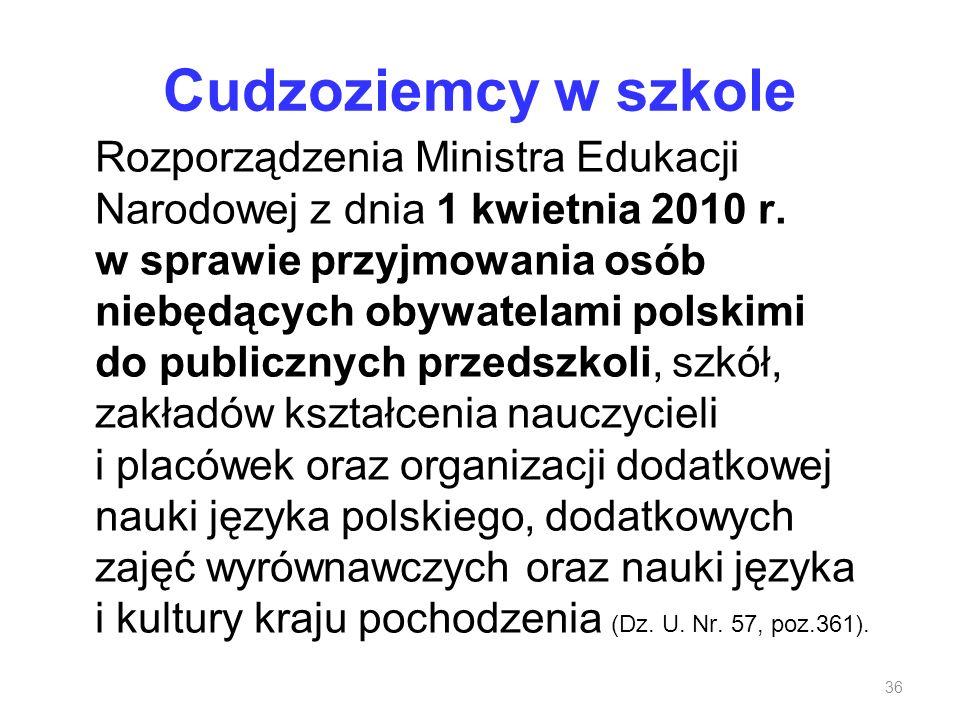 Cudzoziemcy w szkole Rozporządzenia Ministra Edukacji Narodowej z dnia 1 kwietnia 2010 r. w sprawie przyjmowania osób niebędących obywatelami polskimi
