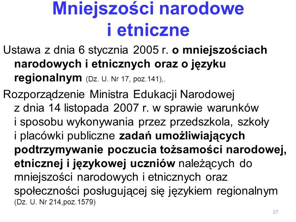 Mniejszości narodowe i etniczne Ustawa z dnia 6 stycznia 2005 r. o mniejszościach narodowych i etnicznych oraz o języku regionalnym (Dz. U. Nr 17, poz