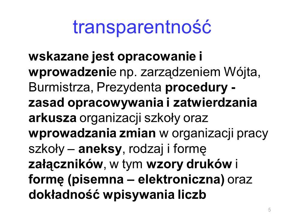 transparentność wskazane jest opracowanie i wprowadzenie np. zarządzeniem Wójta, Burmistrza, Prezydenta procedury - zasad opracowywania i zatwierdzani