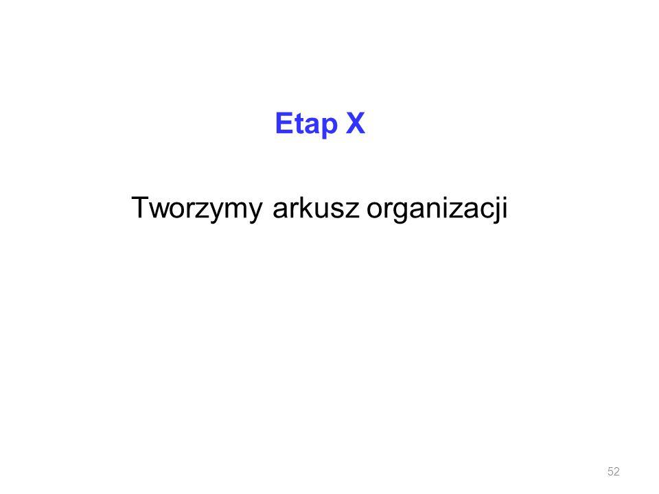 Etap X Tworzymy arkusz organizacji 52