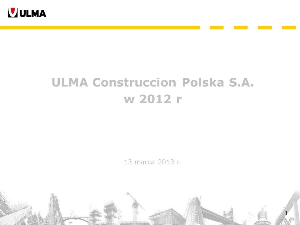 2 Rynek budowlany w Polsce w 2012 r. slajdy 3-9 Wyniki finansowe w 2012 r.slajdy 10-14 Spis treści