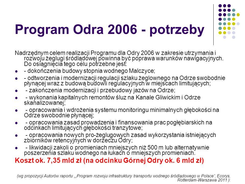 Program Odra 2006 - potrzeby Nadrzędnym celem realizacji Programu dla Odry 2006 w zakresie utrzymania i rozwoju żeglugi śródlądowej powinna być popraw