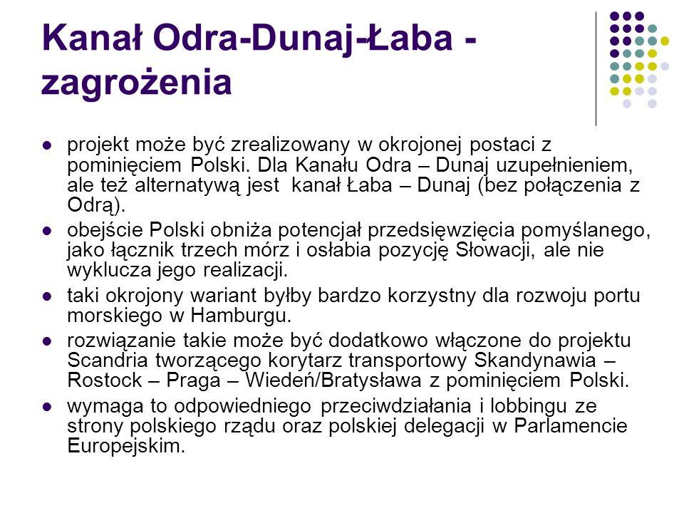 Kanał Odra-Dunaj-Łaba - zagrożenia projekt może być zrealizowany w okrojonej postaci z pominięciem Polski. Dla Kanału Odra – Dunaj uzupełnieniem, ale