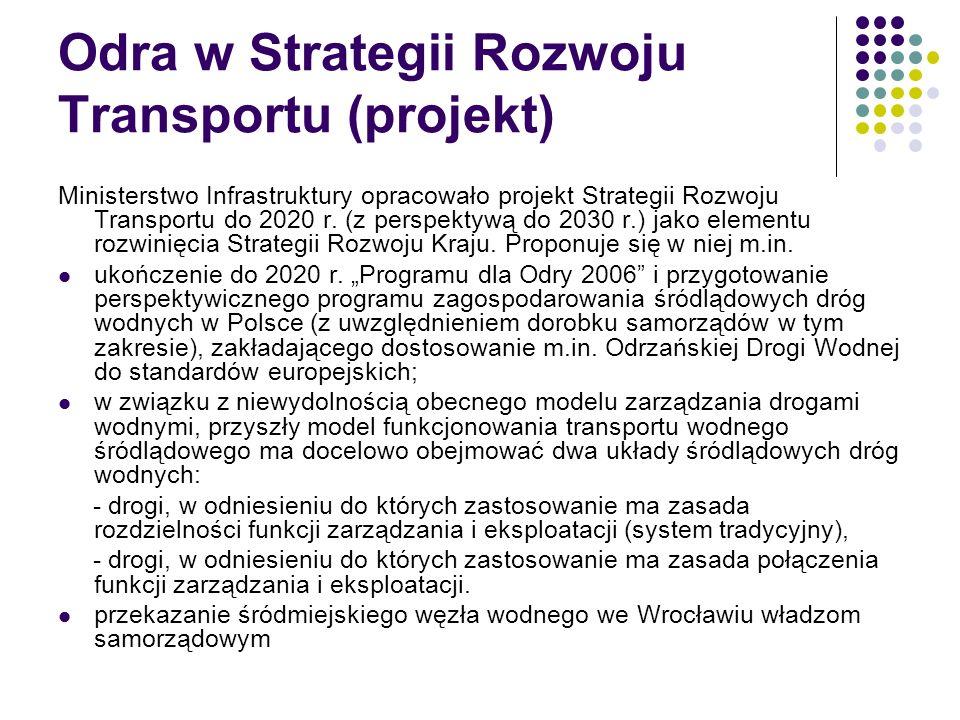 Odra w Strategii Rozwoju Transportu (projekt) Ministerstwo Infrastruktury opracowało projekt Strategii Rozwoju Transportu do 2020 r. (z perspektywą do