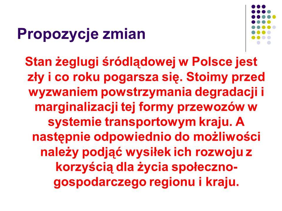 Propozycje zmian Stan żeglugi śródlądowej w Polsce jest zły i co roku pogarsza się. Stoimy przed wyzwaniem powstrzymania degradacji i marginalizacji t