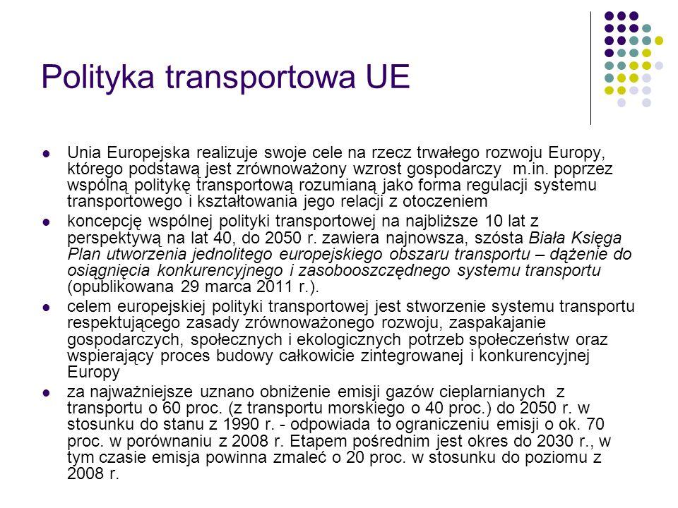 Polityka transportowa UE Unia Europejska realizuje swoje cele na rzecz trwałego rozwoju Europy, którego podstawą jest zrównoważony wzrost gospodarczy