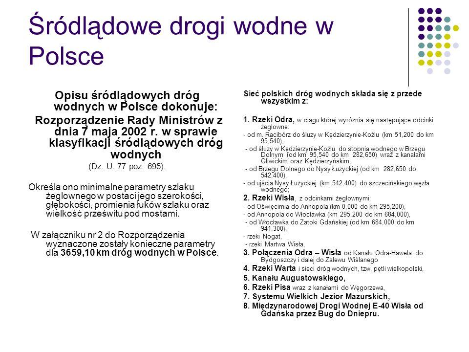 Śródlądowe drogi wodne w Polsce Opisu śródlądowych dróg wodnych w Polsce dokonuje: Rozporządzenie Rady Ministrów z dnia 7 maja 2002 r. w sprawie klasy