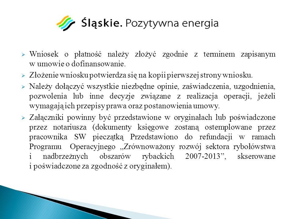 Wniosek o płatność należy złożyć zgodnie z terminem zapisanym w umowie o dofinansowanie. Złożenie wniosku potwierdza się na kopii pierwszej strony wni
