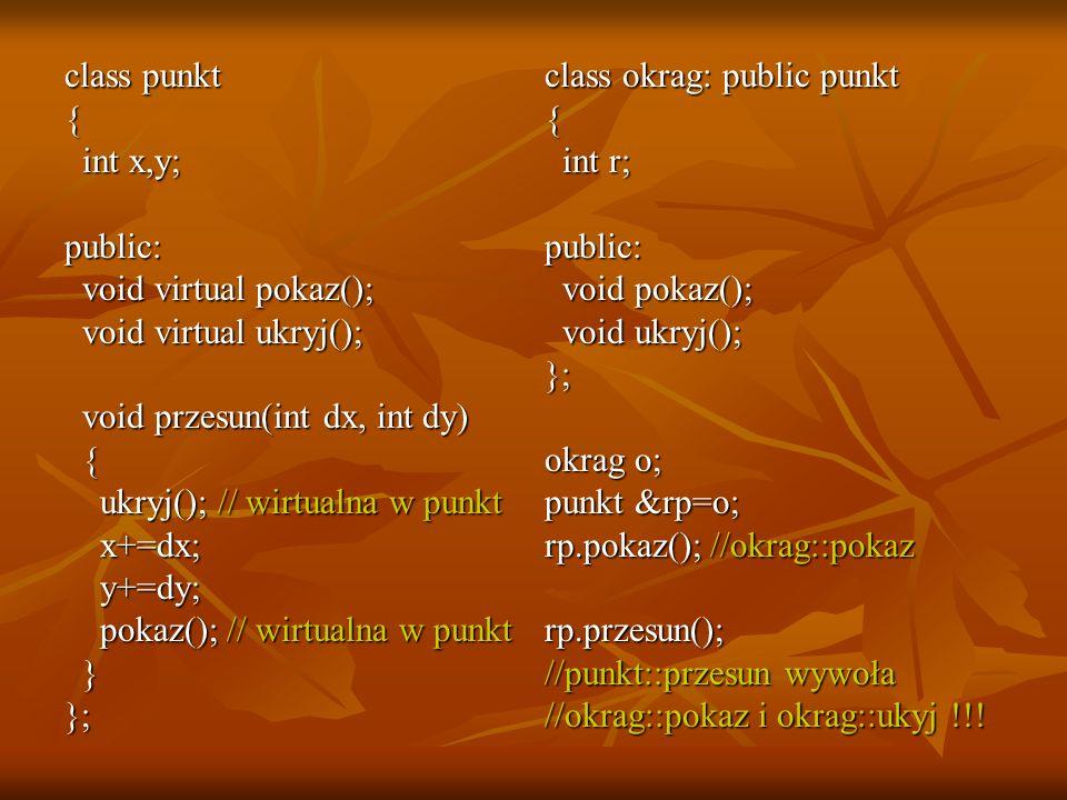 class punkt { int x,y; int x,y;public: void virtual pokaz(); void virtual pokaz(); void virtual ukryj(); void virtual ukryj(); void przesun(int dx, in