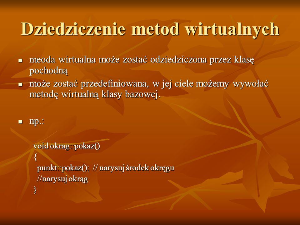 Dziedziczenie metod wirtualnych meoda wirtualna może zostać odziedziczona przez klasę pochodną meoda wirtualna może zostać odziedziczona przez klasę p