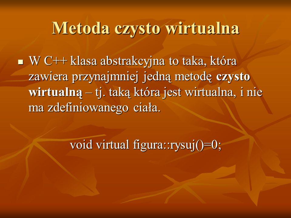 Metoda czysto wirtualna W C++ klasa abstrakcyjna to taka, która zawiera przynajmniej jedną metodę czysto wirtualną – tj. taką która jest wirtualna, i